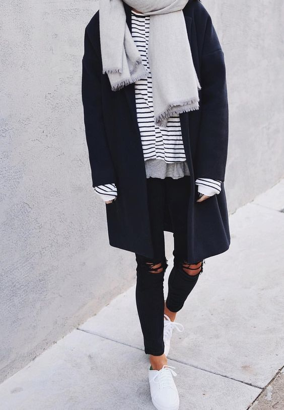 casual stripe outfit fall