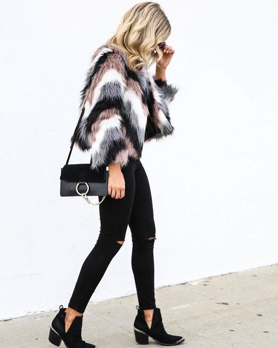fur and jeans outfit