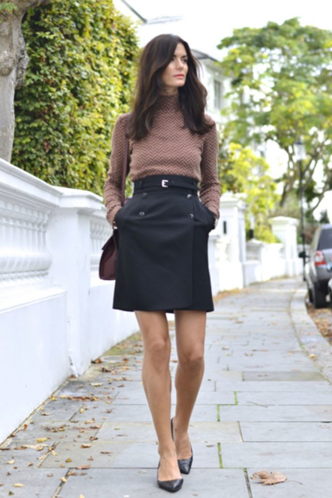 turtleneck skirt fall outfit